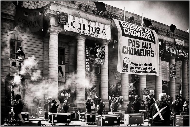 Parvis du théâtre de l'Odéon, Paris, 23 avril 2021.
