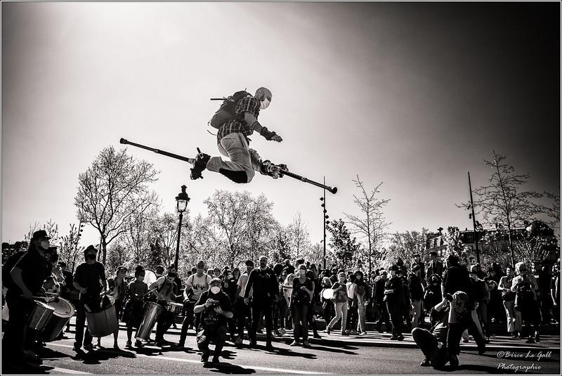 Deuxième manifestation contre la réforme de l'assurance de chômage, Paris, Place de la Bastille, 23 avril 2021.