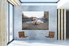 Modern,Concrete,Loft,Interior,With,Empty,Poster,On,Wall,,Chairs