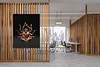 Front,View,Of,A,Modern,Office,Interior,With,Wooden,Walls,