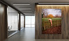 Corridor,Of,Company,With,Wooden,Walls,,Vertical,Poster,And,Conference