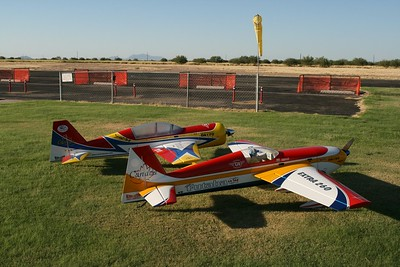 "These are my two entries for the Shootout this year. A Carden Extra 260 and a Quique  120"" YAK-54"