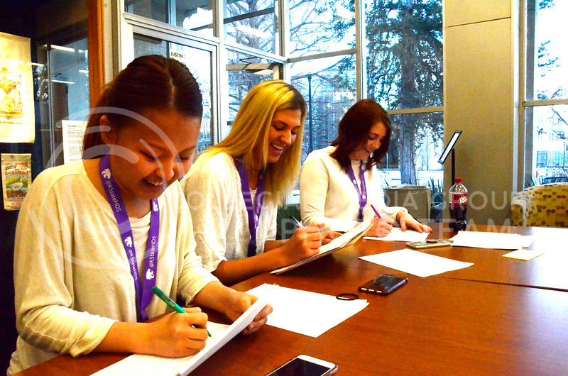 K-State students judge prospective models at the model casting for the Apparel Textiles and Interior Design Symposium on the evening of Thursday, March 1, 2018, at Justin Hall. (Tiffany Roney | Collegian Media Group)