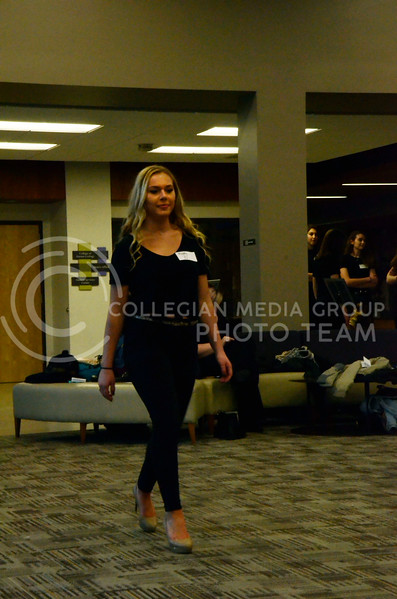 Abbey walks the practice runway in Justin Hall at the model casting for the Apparel Textiles and Interior Design Symposium. The casting was held on Thursday, March 1, 2018. (Tiffany Roney | Collegian Media Group)