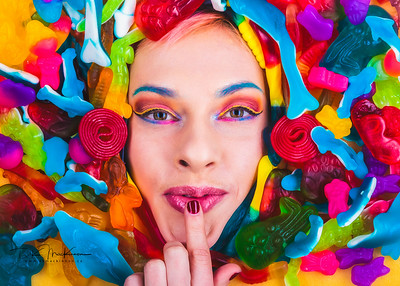 An image from a candy-themed photoshoot with model Christine Hagar and makeup artist Maggie Velvet of Maykee Beauty.   MUA: @maykeebeauty  Model: @frozen_neptune