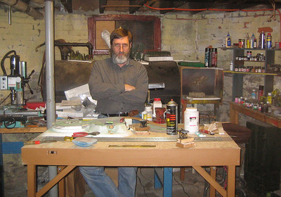 Ken in his basement workshop.