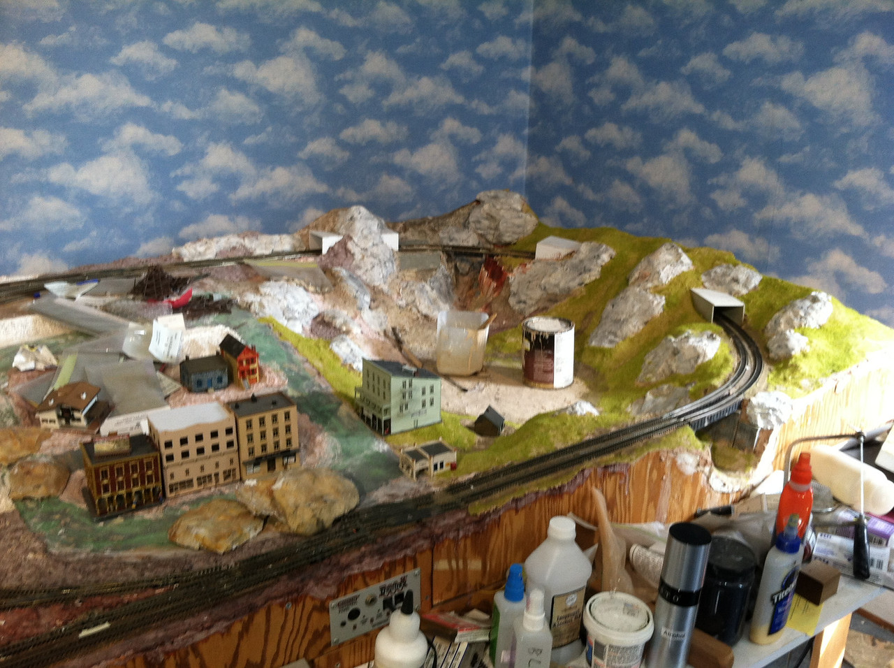 A work in progress, April 2012.  Scenery around Donner Lake...  buildings in Truckee...