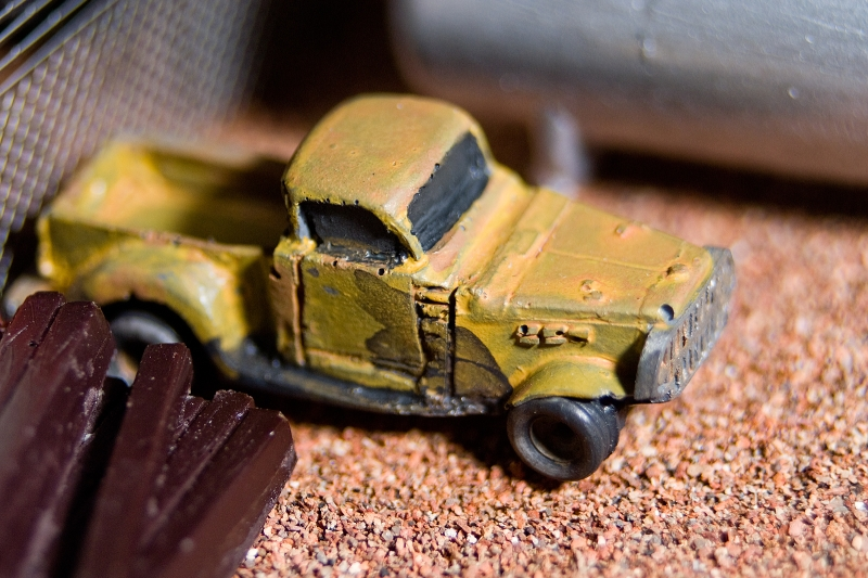 Sony A100, Minolta 35-70mm, extension tube also used. Photo of a N-scale model truck. <br /> <br /> Truck is a white metal casting (also a kit), I did not build it, or paint it. Focusing was hard, the depth of field was incredibly narrow (you can see what I mean but looking at the ground between the right front tire, and the bottom of the photo).
