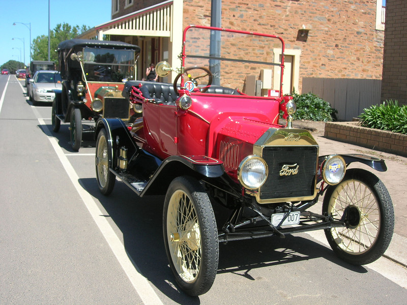 "Model T's in Main Street Kapunda, later on display at ""Dutton Park"" giving a brilliant display of immaculate vehicles."