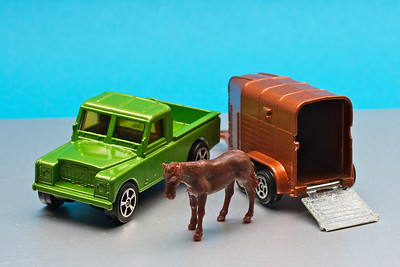 Small Corgi twin pack of Land Rover and horse-box (and horse)