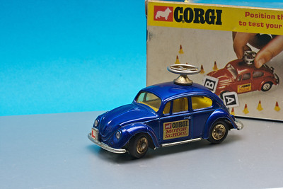 Corgi VW Beetle with steerable wheels. Sadly i don't have the traffic cones now.
