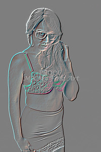 Implied Nude Girl Embossed 1346.616