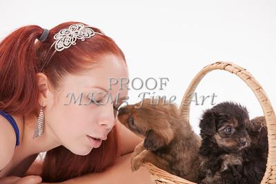 Model, Amanda Spangler, Puppies,