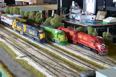 West Staging (Half Dale Yard) - with colourful motive power!