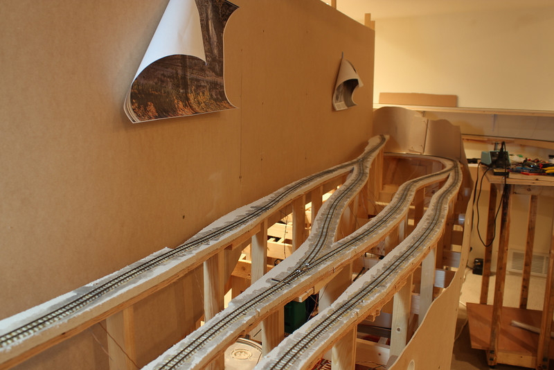 A few weeks (ahem...err...months) have gone by and I have now got the Garfield switchbacks all completed.  Trackwork was pretty straight forward and took about 5 days to complete.  The small 'white' areas on the switches at gaps that I have been filled in with Styrene but haven't been cut down yet.
