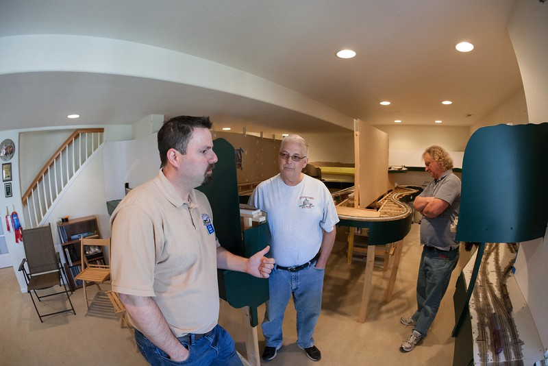 I talk with Bill W and Bill K (Yes...there are a LOT of Bill's in the NCMRC) about the layout and operations coming up.  <br /> <br /> Photo by Bob Sobol