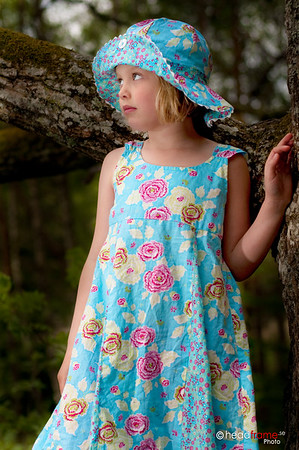 Girl with blue dress in the woods