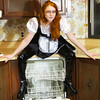 Sexy french maid working in the kitchen