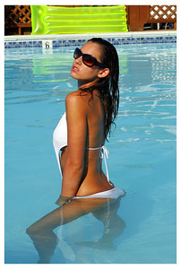 Jenn in Pool White Bathing Suit - Chincoteague, Virginia