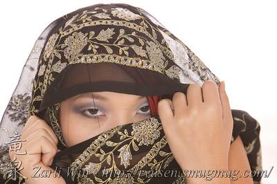 Jolene in a Black Sari