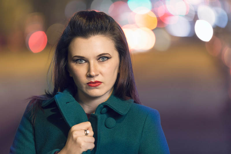 Kat Posing in Green Jacket