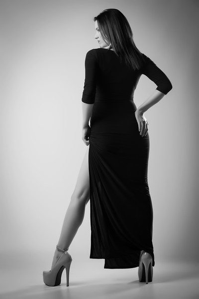 Kat Posing in Long Black Dress