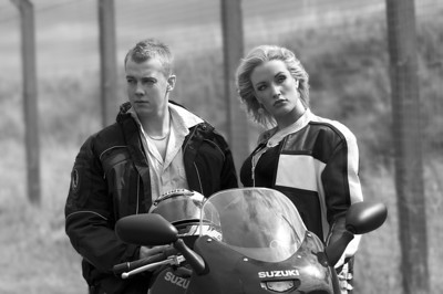 Best supporting roles going to my lovely GSX750F Suzuki and Interstate Leathers (period not retro!) jacket.  Great boy/girl pairing of John Barkess and Mel Robson for this lifestyle shot.