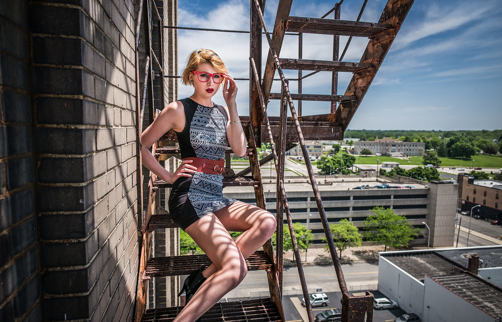 Andrea on Fire Escape