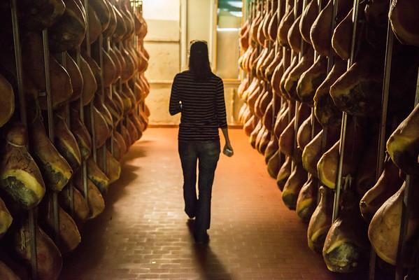 Inside a prosciutto factory in Modena, Italy