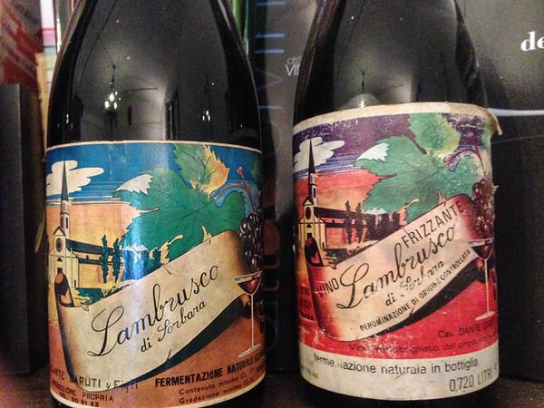 Vintage Lambrusco di Sorbara wine bottles
