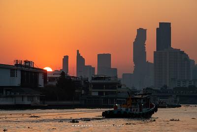 Skyline of  Bangkok and Chao Phraya River view from Wat Arun