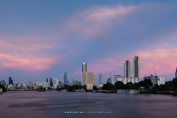 Mahanakhon and the Skyline of Bangkok by Chao Phraya River