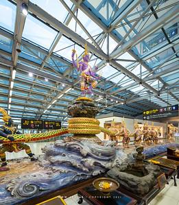 The Churning of the Milk Ocean Statue at Suvarnabhumi International Airport