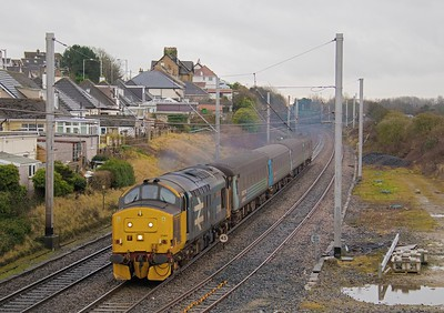 Said to be the final week of Class 37's on the WCML  Preston - Barrow trains.  37401 hurries through Hest Bank on the 10.04 Preston - Barrow service on 23rd January 2018.