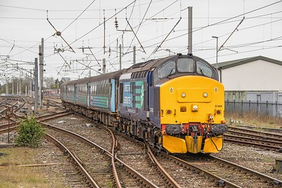 37 405 is seen again, working the 10.04 Preston to Barrow service, approaching Carnforth on 7th April 2017.  This locomotive was built by English Electric as D6982 at their Newton-Le-Willows factory in May 1965!