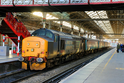 37409 awaits departure in sunlight and shade at Preston with the 10.04 service to Barrow-in Furness on New Years Eve 2015.  I find it incredible that these vintage machines are being used for front-line passenger trains more than 50 years after they were built. I need to get out and record more of these movements, so long may they continue!