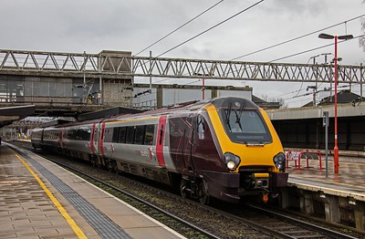 Cross-Country Voyager forms the 09.00 Bristol - Manchester service at Stafford on 6th March 2019.