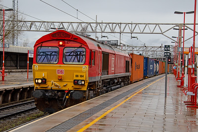 66 104  passing Stafford with the  09:12 Trafford Park-Southampton  intermodal on 6th March 2019.