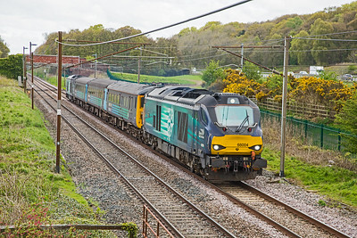 68004 (with 68017 on the back) glides along the WCML @ Woodacre with the 05.15 Carlisle - Preston service on 30-04-18.  These loco-hauled train will cease to operate on the WCML after the changes for summer timetabling.