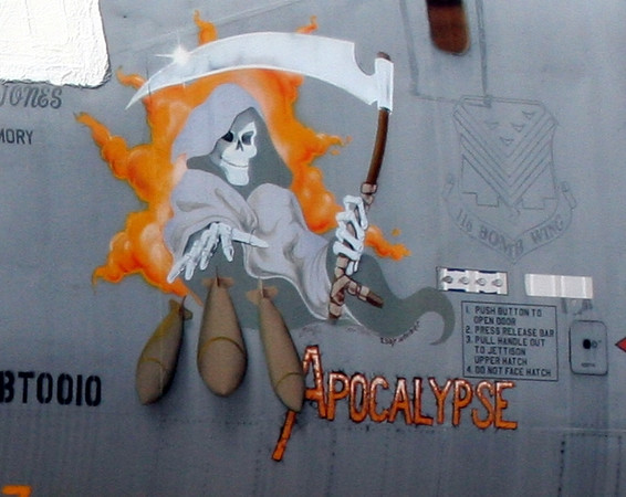 Noseart on B-1B Lancer (Bone). July 20, 2006. AMARC... the Boneyard near Davis Monthan AFB, Tucson, AZ. © Brandon Lingle