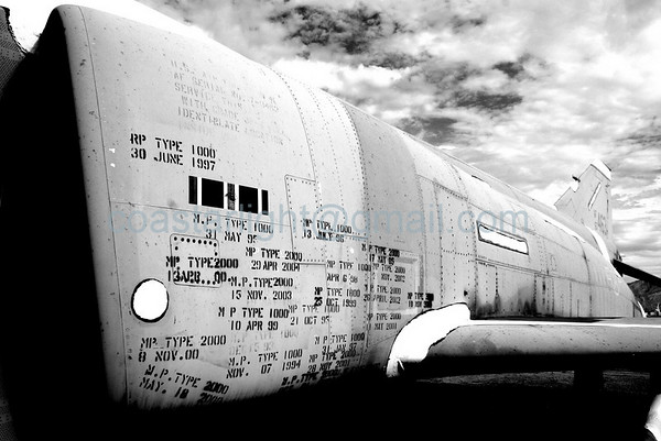 F-4 Phantom with multiple inspection stamps. July 20, 2006. AMARC... the Boneyard near Davis Monthan AFB, Tucson, AZ. © Brandon Lingle