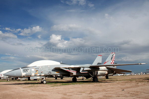 Grumman F-14 Tomcat from VF-211 Checkmates (callsign: Nickel). July 20, 2006. AMARC... the Boneyard near Davis Monthan AFB, Tucson, AZ. © Brandon Lingle