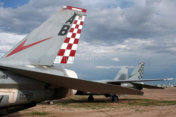 Grumman F-14 Tomcats from VF-211 Checkmates (callsign: Nickel). July 20, 2006. AMARC... the Boneyard near Davis Monthan AFB, Tucson, AZ. © Brandon Lingle