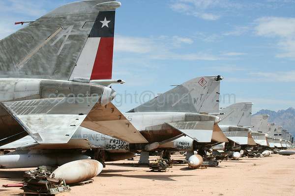 F-4 Phantom tails. July 20, 2006. AMARC... the Boneyard near Davis Monthan AFB, Tucson, AZ. © Brandon Lingle