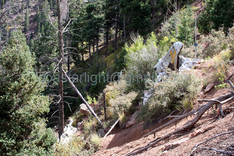 View of C-49 crash site from Blodgett Peak saddle heading south. The crash site is on the eastern slope of the mountain. © Brandon Lingle