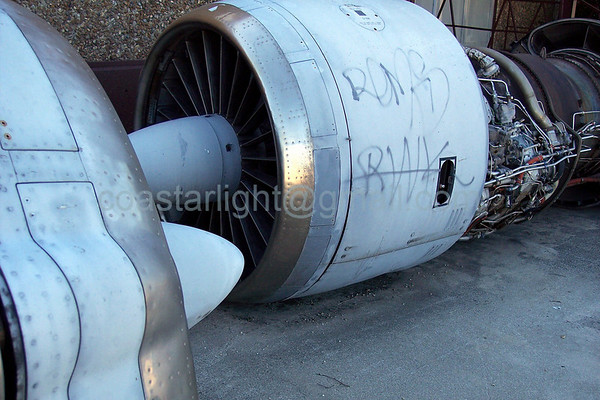 Graffiti on C-141 engine, horizontal    © Brandon Lingle