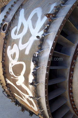 Graffiti on engine part    © Brandon Lingle