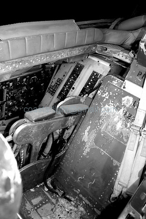 B-57 Canberra bomber cockpit. Scrapyard outside of AMARC (the Boneyard) near Davis Monthan AFB, Tucson, AZ. July 20, 2006.
