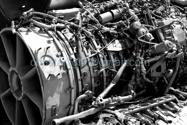 Jet engine. Scrapyard outside of AMARC (the Boneyard) near Davis Monthan AFB, Tucson, AZ. July 20, 2006.