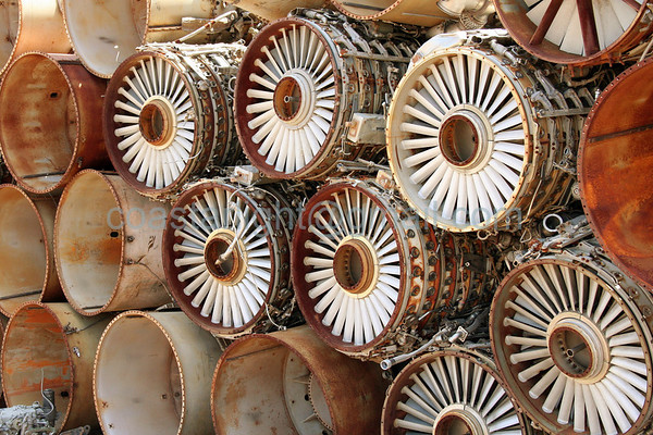 Jet Engines. Scrapyard outside of AMARC (the Boneyard) near Davis Monthan AFB, Tucson, AZ. July 20, 2006.